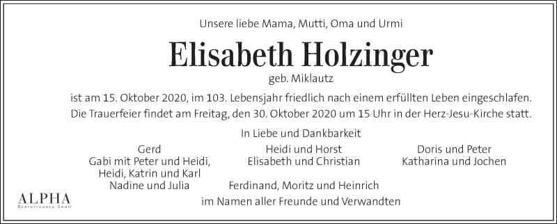 Traueranzeige für Elisabeth Holzinger vom 24.10.2020 aus Kleine Zeitung
