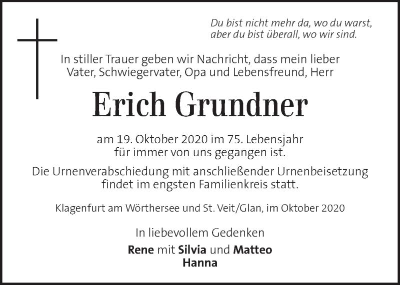 Traueranzeige für Erich Grundner vom 23.10.2020 aus Kleine Zeitung