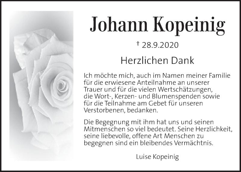 Traueranzeige für Johann Kopeinig vom 07.10.2020 aus Kleine Zeitung