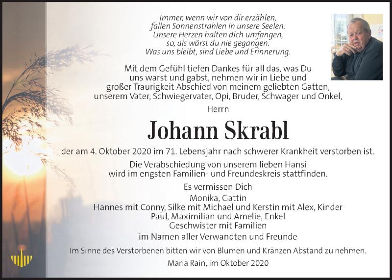 Traueranzeige für Johann Skrabl vom 08.10.2020 aus Kleine Zeitung