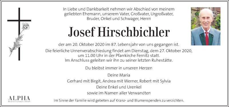Traueranzeige für Josef Hirschbichler vom 23.10.2020 aus Kleine Zeitung
