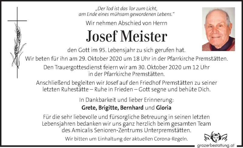 Traueranzeige für Josef Meister vom 25.10.2020 aus Kleine Zeitung