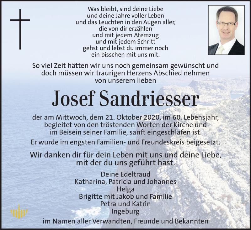 Traueranzeige für Josef Sandriesser vom 25.10.2020 aus Kleine Zeitung