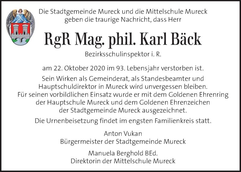Traueranzeige für Karl Bäck vom 25.10.2020 aus Kleine Zeitung