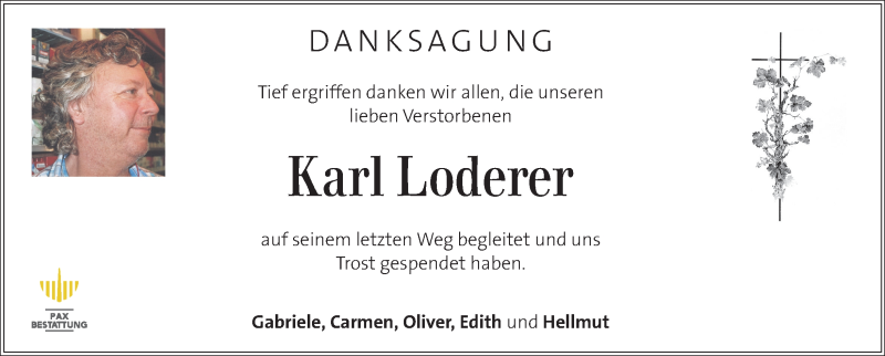 Traueranzeige für Karl Loderer vom 25.10.2020 aus Kleine Zeitung