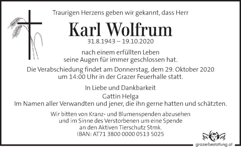 Traueranzeige für Karl Wolfrum vom 23.10.2020 aus Kleine Zeitung