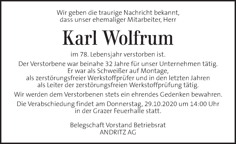 Traueranzeige für Karl Wolfrum vom 25.10.2020 aus Kleine Zeitung
