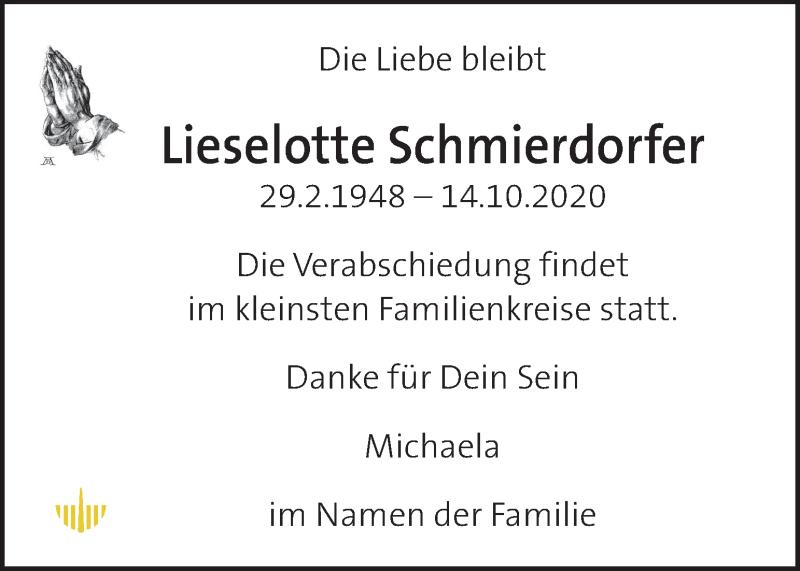 Traueranzeige für Lieselotte Schmierdorfer vom 23.10.2020 aus Kleine Zeitung