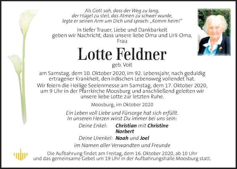 Traueranzeige für Lotte Feldner vom 14.10.2020 aus Kleine Zeitung