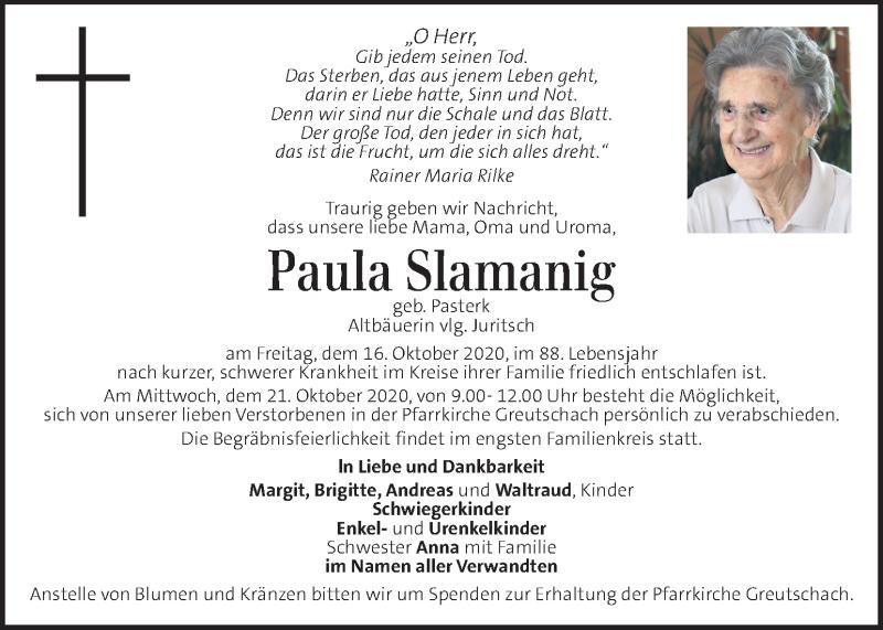 Traueranzeige für Paula Slamanig vom 21.10.2020 aus Kleine Zeitung