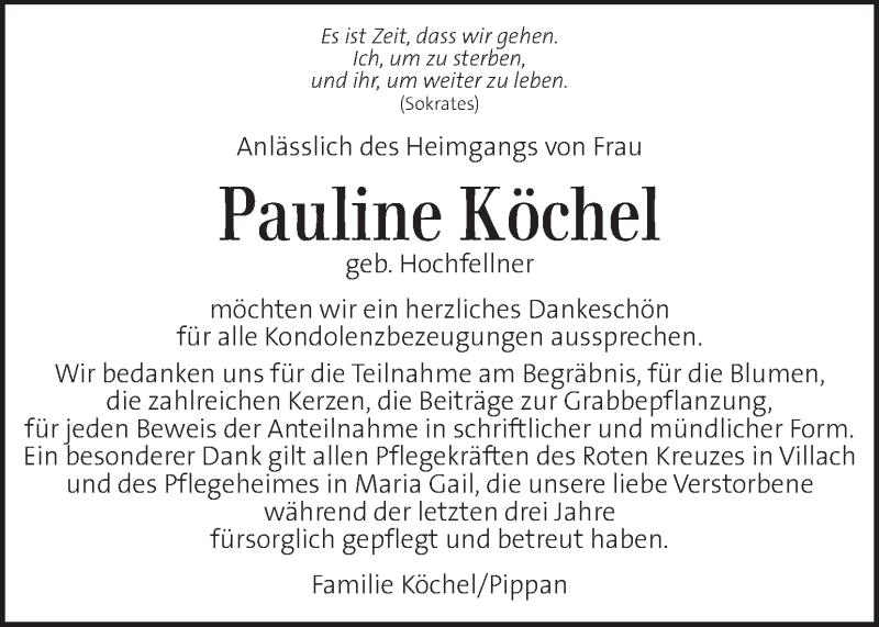 Traueranzeige für Pauline Köchel vom 18.10.2020 aus Kleine Zeitung