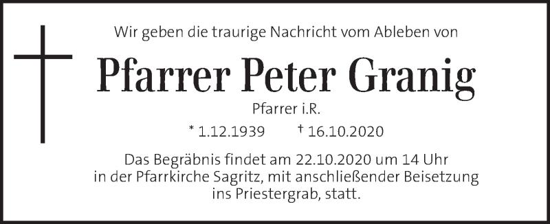 Traueranzeige für Peter Granig vom 21.10.2020 aus Kleine Zeitung