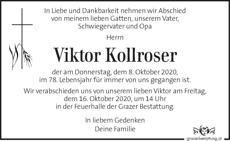 Traueranzeige für Viktor Kollroser vom 15.10.2020 aus Kleine Zeitung