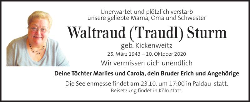 Traueranzeige für Waltraud Sturm vom 18.10.2020 aus Kleine Zeitung