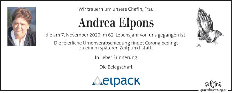 Traueranzeige für Andrea Elpons vom 17.11.2020 aus Kleine Zeitung