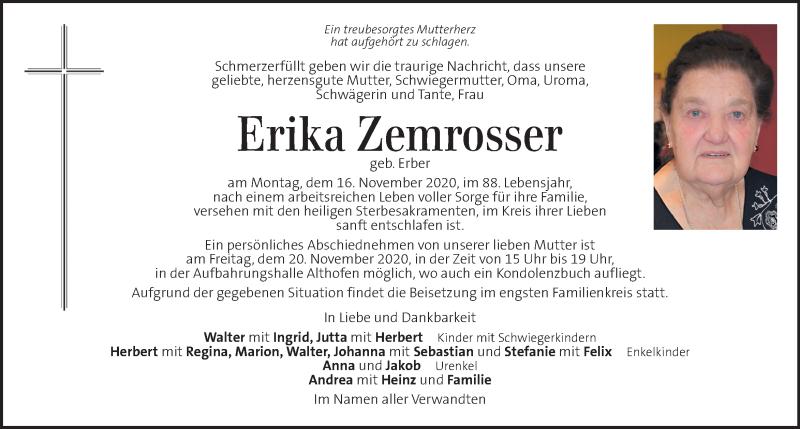 Traueranzeige für Erika Zemrosser  vom 19.11.2020 aus Kleine Zeitung