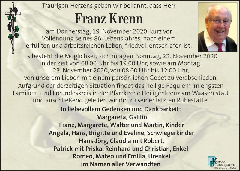 Traueranzeige für Franz Krenn vom 21.11.2020 aus Kleine Zeitung