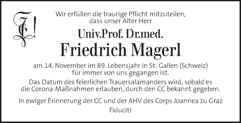 Traueranzeige für Friedrich Magerl vom 20.11.2020 aus Kleine Zeitung