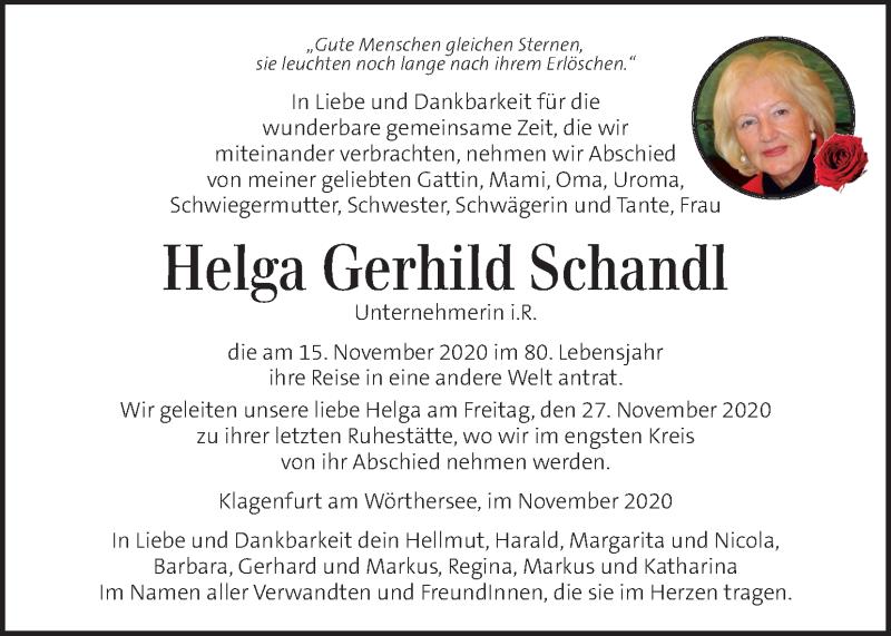 Traueranzeige für Helga Gerhild Schandl vom 26.11.2020 aus Kleine Zeitung