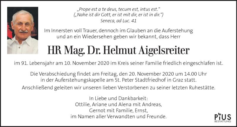 Traueranzeige für Helmut Aigelsreiter vom 15.11.2020 aus Kleine Zeitung