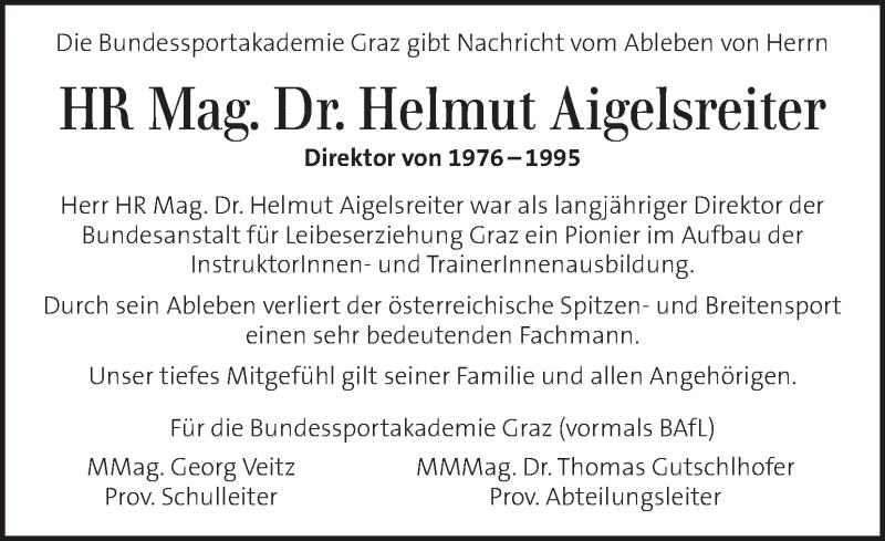 Traueranzeige für Helmut Aigelsreiter vom 18.11.2020 aus Kleine Zeitung