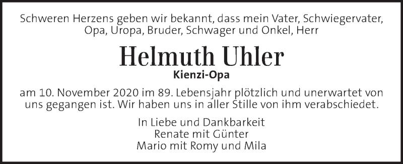 Traueranzeige für Helmuth Uhler vom 19.11.2020 aus Kleine Zeitung