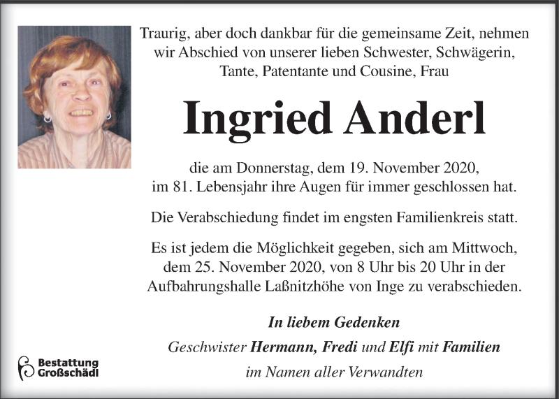 Traueranzeige für Ingried Anderl vom 24.11.2020 aus Kleine Zeitung