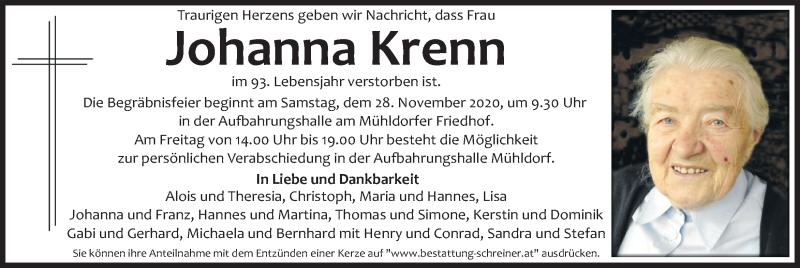 Traueranzeige für Johanna Krenn vom 26.11.2020 aus Kleine Zeitung