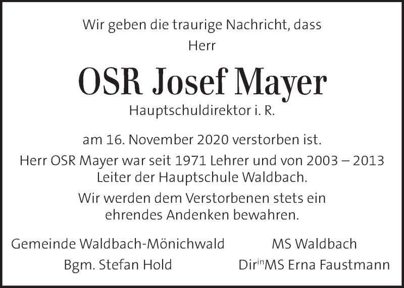 Traueranzeige für Josef Mayer vom 21.11.2020 aus Kleine Zeitung
