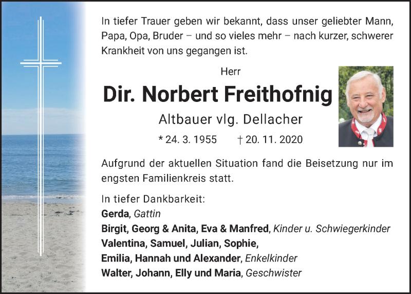 Traueranzeige für Norbert Freithofnig vom 24.11.2020 aus Kleine Zeitung