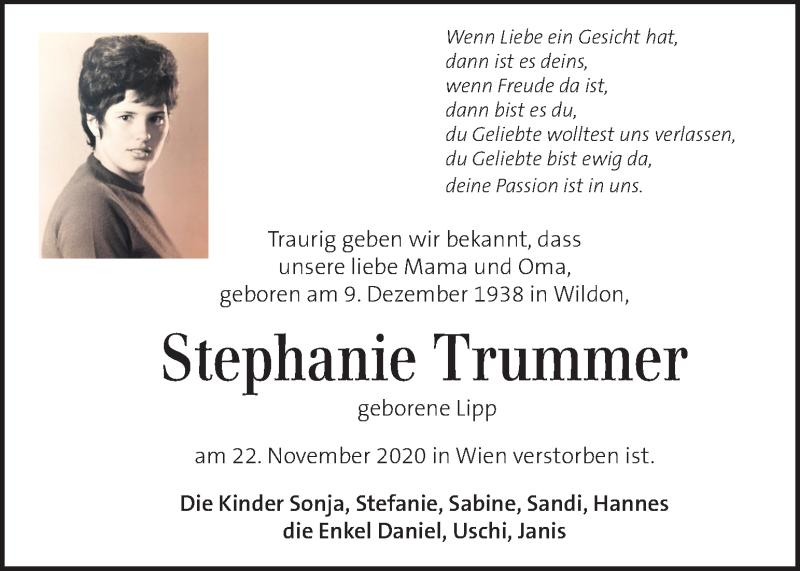 Traueranzeige für Stephanie Trummer vom 28.11.2020 aus Kleine Zeitung