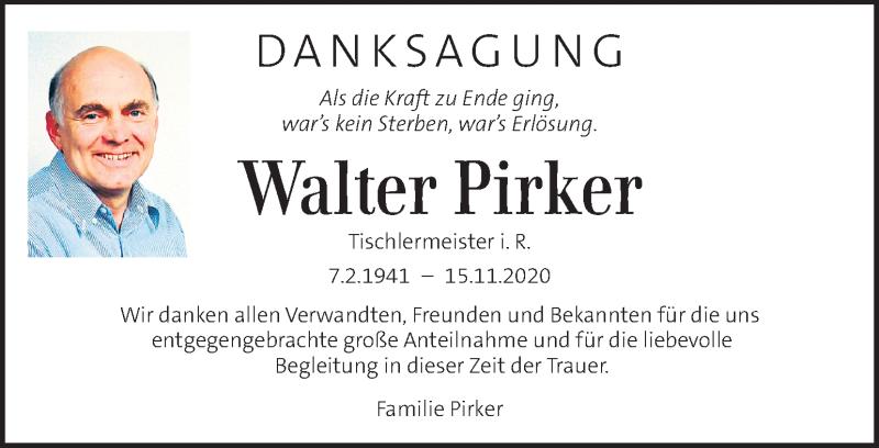 Traueranzeige für Walter Pirker  vom 29.11.2020 aus Kleine Zeitung