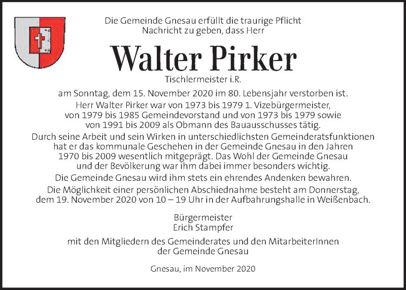 Traueranzeige für Walter Pirker  vom 18.11.2020 aus Kleine Zeitung