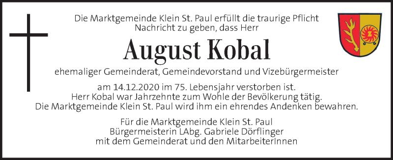 Traueranzeige für August Kobal  vom 16.12.2020 aus Kleine Zeitung