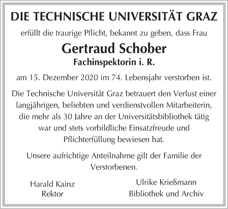 Traueranzeige für Gertraud Schober  vom 19.12.2020 aus Kleine Zeitung