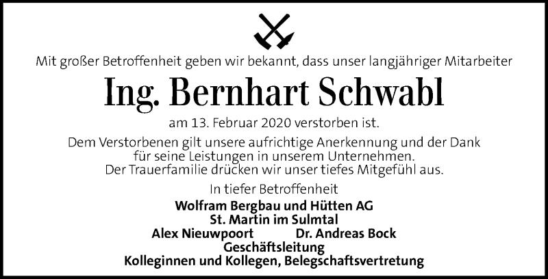 Traueranzeige für Bernhart Schwabl vom 18.02.2020 aus Kleine Zeitung
