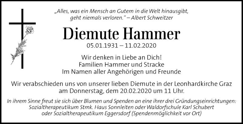 Traueranzeige für Diemute Hammer vom 18.02.2020 aus Kleine Zeitung