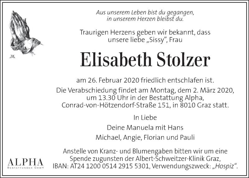 Traueranzeige für Elisabeth Stolzer vom 28.02.2020 aus Kleine Zeitung