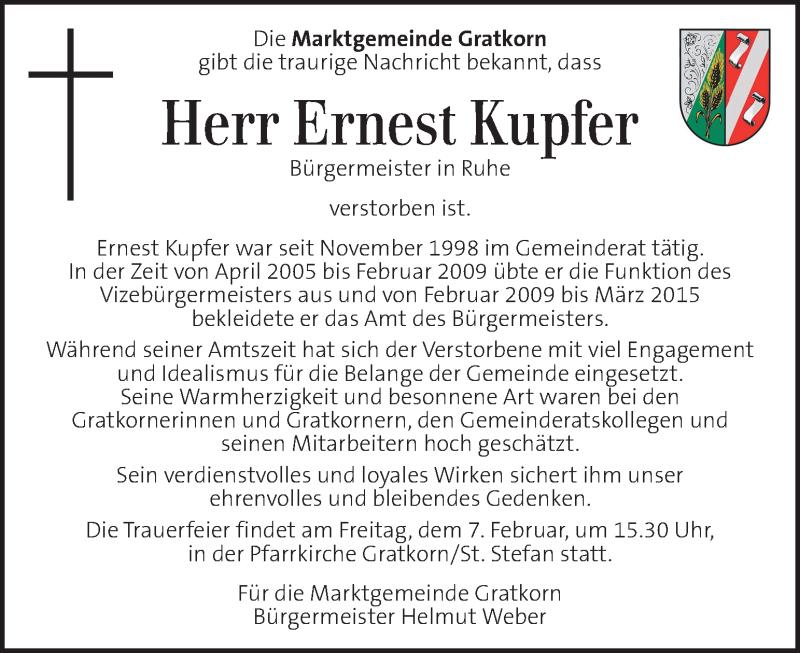 Traueranzeige für Ernest Kupfer vom 07.02.2020 aus Kleine Zeitung