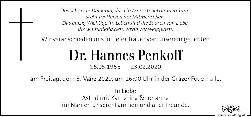 Traueranzeige für Hannes Penkoff vom 01.03.2020 aus Kleine Zeitung