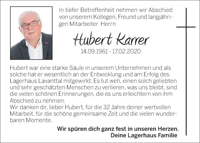 Traueranzeige für Hubert Karrer vom 22.02.2020 aus Kleine Zeitung