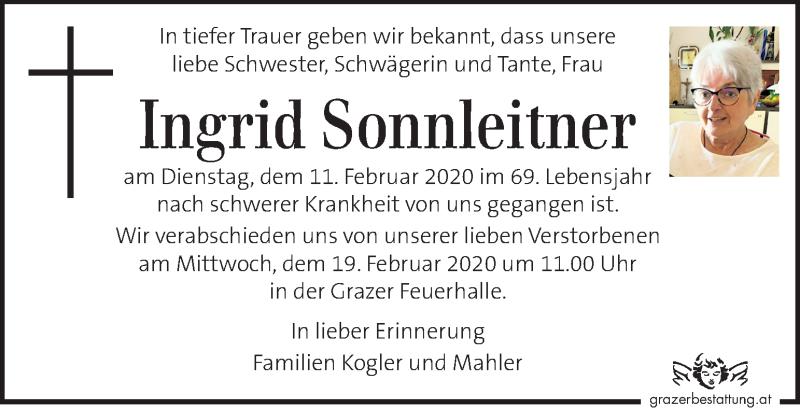 Traueranzeige für Ingrid Sonnleitner vom 14.02.2020 aus Kleine Zeitung
