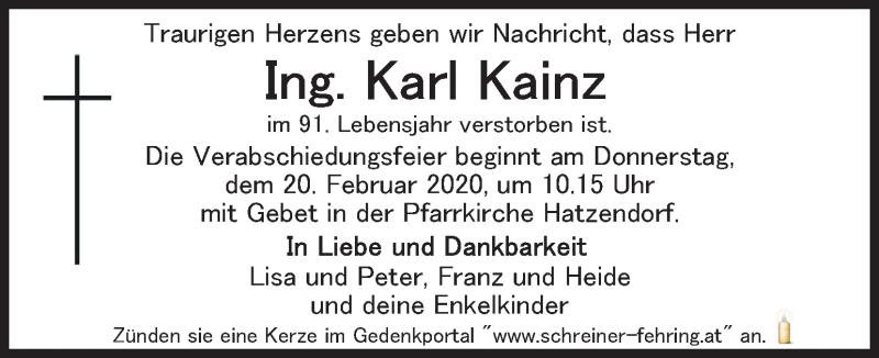 Traueranzeige für Karl Kainz vom 18.02.2020 aus Kleine Zeitung