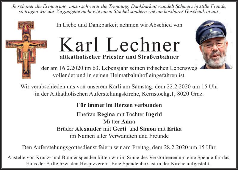 Traueranzeige für Karl Lechner vom 20.02.2020 aus Kleine Zeitung