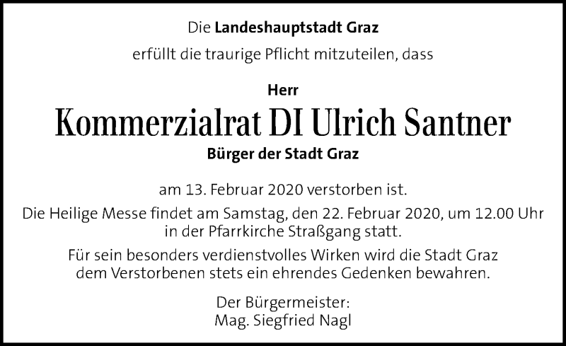 Traueranzeige für Ulrich Santner vom 19.02.2020 aus Kleine Zeitung