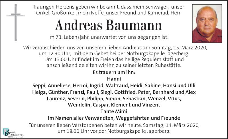 Traueranzeige für Andreas Baumann vom 14.03.2020 aus Kleine Zeitung