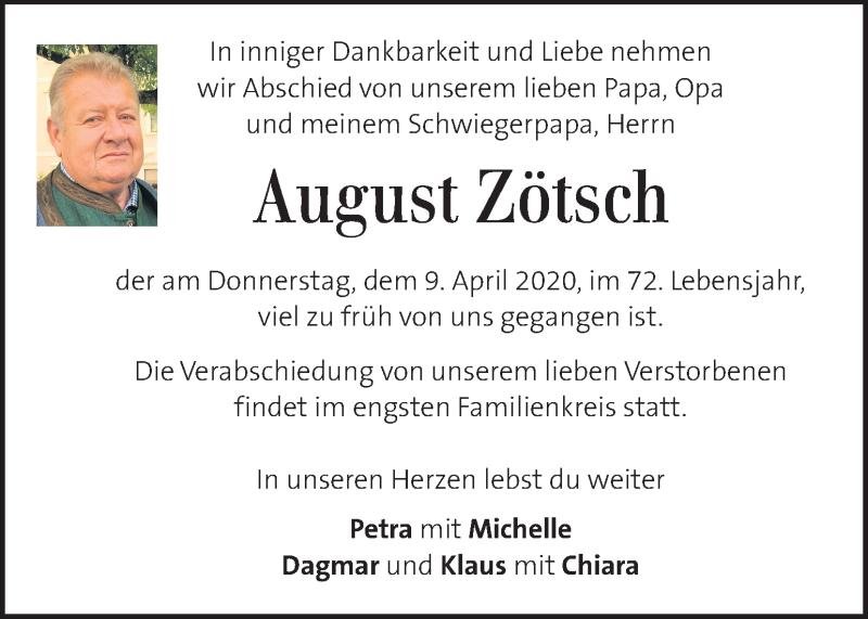 Traueranzeige für August Zötsch vom 15.04.2020 aus Kleine Zeitung