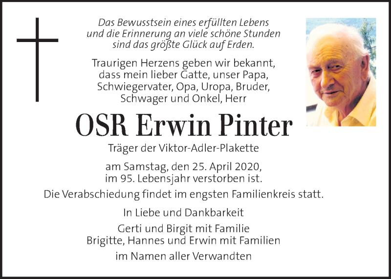 Traueranzeige für Erwin Pinter vom 29.04.2020 aus Kleine Zeitung