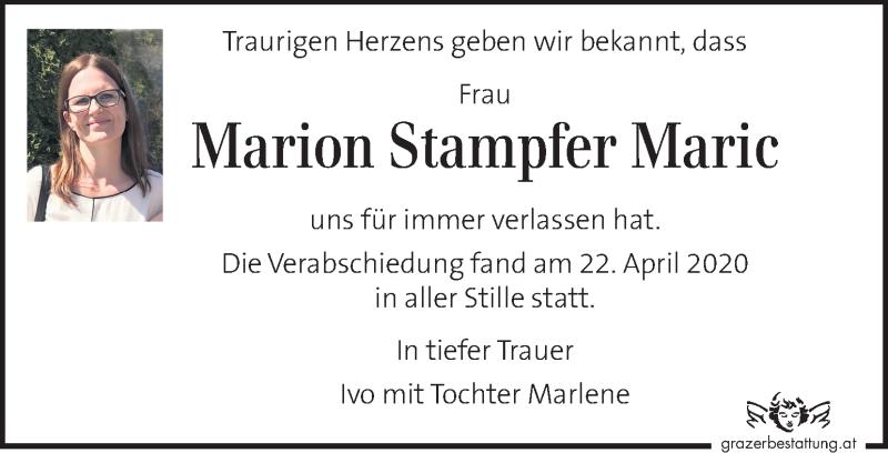 Traueranzeige für Marion Stampfer Maric vom 26.04.2020 aus Kleine Zeitung