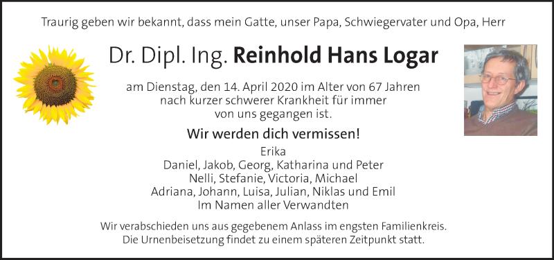 Traueranzeige für Reinhold Hans Logar vom 16.04.2020 aus Kleine Zeitung